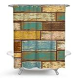 QCWN Karo-Duschvorhang, Mosaik Duschvorhang, Retro-Gitter-Duschvorhang, mit Haken für Badezimmer-Dekor 70