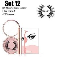 Fashion Full Coverage Smudge proof Wispy Fluffy Magnetic Liquid Eyeliner Natural Long Black No Glue Need Eyelashes Magnetic False Eyelashes(Set 12)