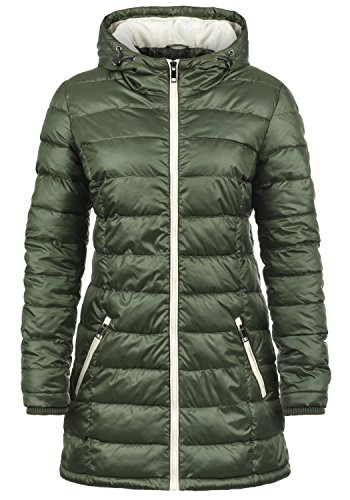 DESIRES Dori Damen Steppmantel Übergangsmantel Lange Jacke gefüttert mit Kapuze, Größe:S, Farbe:Climb Ivy (3785)