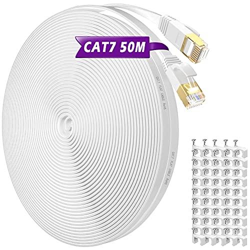 Cable Ethernet 50 Metros, Exterior Impermeable Al Aire Libre Cat7 Cable De...