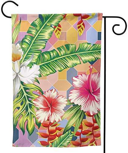 Zudrold Maison Jardin Composition Botanique Exotique Orchidée Fleurs et Palm Joyeux Décoration D'été Drapeau De Jardin