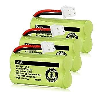 iMah BT183342/BT283342 Cordless Phone Battery Compatible with BT166342/BT266342 BT162342/BT262342 AT&T EL52100 EL50003 CL80100 CL80111 CRL80112 EL50003 VTech CS6709 CS6609 CS6509 CS6409 Pack of 3