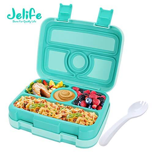 Jelife Brotdose Kinder Bento Box Lunchbox mit 4 Unterteilungen auslaufsicher Lunchbox für Schule Picknick Wandern Reisen