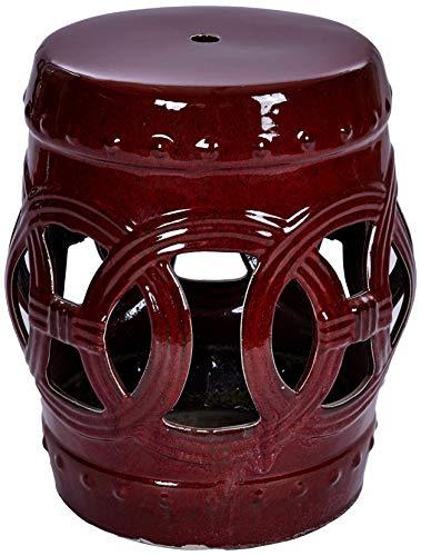 Better & Best 2901901 keramische kruk met cirkels, 30 x 30 x 41,5 cm, rood