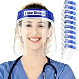 10 Pack Safety Face Shield, All-Round Protection, Anti-Fog Lens, Lightweight Transparent Shield with Adjustable Elastic Band for Men Women