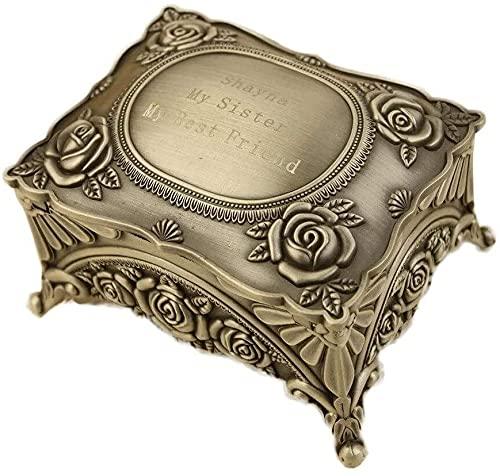 Joyero estilo retro europeo, con patrón de grabado, utilizado para almacenar joyas, regalos como collar