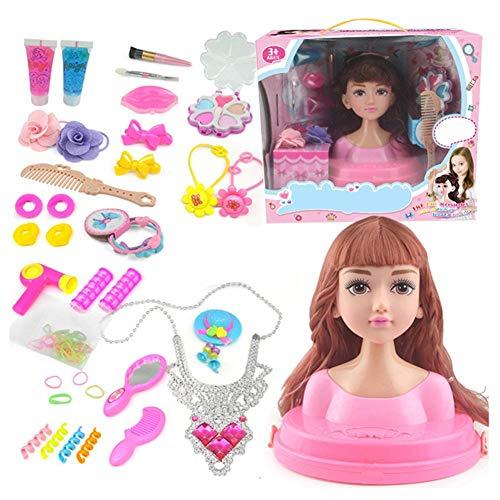 awhao-123 Maquillaje y peluquería,cabeza de maquillaje Super Model con cosméticos, set de muñecas de maquillaje Princess Hair Styling Head set de muñecas con accesorios de belleza y moda a classic