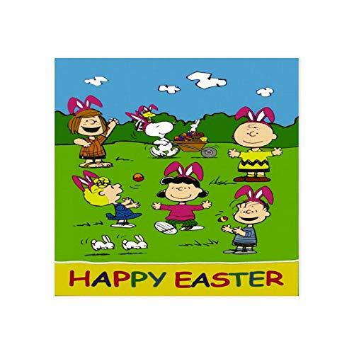 Yokjldh Happy Easter Snoopy Leinwandbild, Poster, Wanddekoration, Rahmen 20,3 x 40,6 x 40,6 cm, Farbe1, 40*40cm