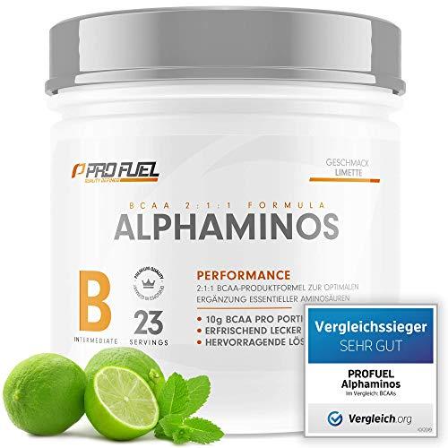 ALPHAMINOS   TESTSIEGER BCAA Pulver 2:1:1   Das ORIGINAL von ProFuel   Essentielle Aminosäuren   Unfassbar leckerer Geschmack (Limette)
