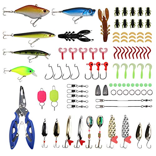 SubClap Fishing Lures Kit 101PCS Artificial Bait Fishing Plugs with Tackle Box, Soft Plastic Crank Worm Spinner Topwater Lures Hook, Fish Baits/Jigs/Fishhook