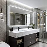 DecorVella 72 x 36 Inch LED Lighted Bathroom Mirror, Dimmable Backlit Wall Mounted Vanity Mirror, Anti-Fog Function, Color Temperature Adjustable, Rust-Proof&Water-Proof, Horizontal & Vertical