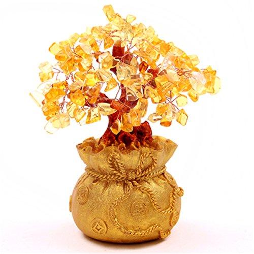 Feng Shui-Citrine Jaune/argent cristal arbre dans un sac de monnaie-Porte Bonheur de Richesse H1011 SKU: