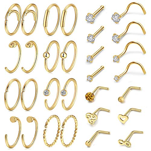AllerPierce 30Pcs 20G Gold Nose Rings Set Bone Screw L Shaped Nose Studs Tragus Cartilage Nose Ring Hoop Stainless Steel Nose Piercing Jewelry for Women Men