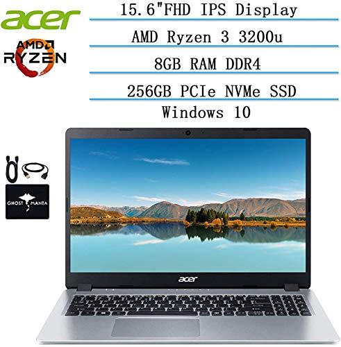 2020 Newest Acer Aspire 5 Slim Laptop 15.6' FHD IPS Display, AMD Ryzen 3 3200u (up to 3.5GHz), Vega 3 Graphics, 8GB RAM DDR4, 256GB PCIe SSD, Backlit KB,WiFi,HDMI, Win10 w/Ghost Manta Accessories