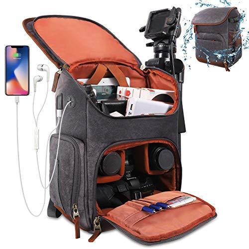 Winload Kamerarucksack, Kameratasche Spiegelreflexkamera, Wasserdicht Canvas Fotorucksack mit 14 Zoll Laptopfach, Stativhalter, USB-Ladeanschluss, 2 Kamera Objektivtasche für Canon Sony DSLR (Grau)