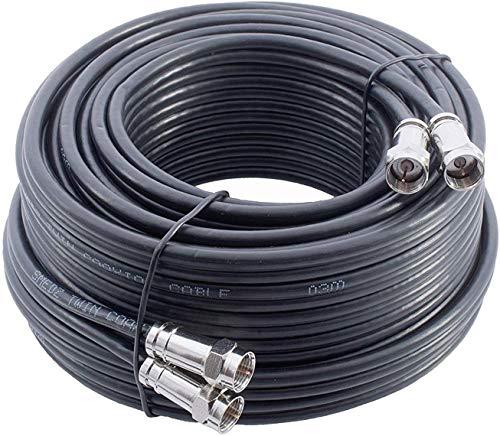 GadgetCenter YCAB03F/1 - Cable coaxial para Sky+ HD (30 m, incluye conectores), negro