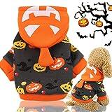 Idepet Abrigo con capucha para mascotas de Halloween,Traje de perro de calabaza Abrigo de invierno...
