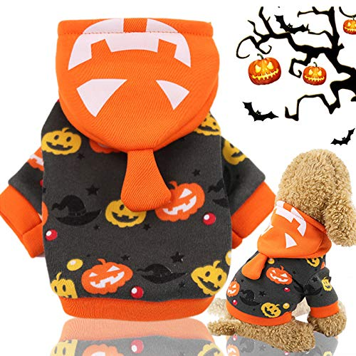 Idepet Halloween Haustier Hoodie Mantel, Kürbis Hund Kostüm Fleece Wintermantel Jacken Pullover für kleine mittlere Hunde Katzen Welpen (XL)