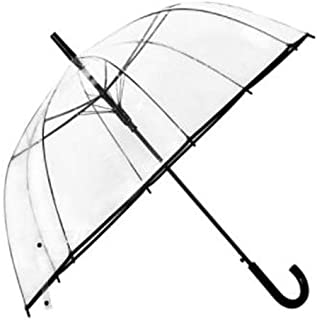SHKRRB Transparent Umbrella Windproof Reinforced Transparent Umbrella Female Korean Style Small Fresh Goddess Student Thick White Long Handle Poe Plastic Umbrella