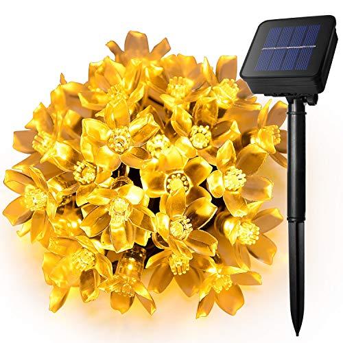 KINGCOO Solar lampen bloemen snoer lichten buiten, waterdicht 15.7ft/4.8m 20 LED ochtendglorie bloem zonne-aangedreven fee lichtsnoer voor tuin huis bruiloft kerstfee vakantie decoraties
