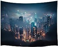 JOOCAR 夜に明るいライトが付いている現代の装飾的なタペストリー家の装飾アートタペストリー