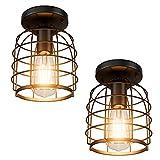 Klighten 2 Piezas Luces de Techo Vintage E27 Industrial Lámpara de Techo de Interior, Retro NegroLuz Metal de Techo , Para Pasillo, Dormitorio, Sala de Estar, Cocina(Bombillas no Incluidas)