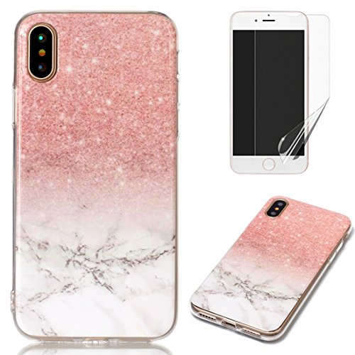 for iPhone X Marble Case with Screen Protector,OYIME Creative Glossy Brick red & White Marble Pattern Design Protective Bumper Soft Silicone Slim Thin Rubber Luxury Shockproof Cover