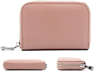 QLTYPRI Women Credit Card Holder Wallet Soft PU Leather Zipper Pocket ID Business Card Case Accordion Style Unisex Blocking Clutch Cash Coin Slot Mini Purse for Men Women - Pink