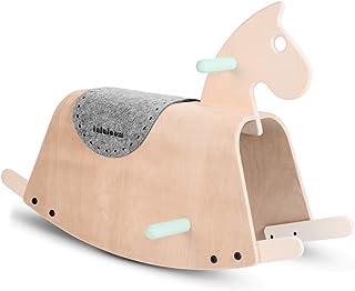 Lalaloom SITTER - Caballito balancín bebe de madera natural color verde diseño caballo mecedora bebe juguete equilibrio niños 73x36x45cm
