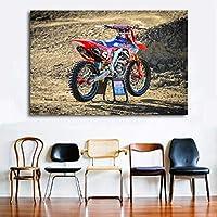 ホンダモトクロスダートバイクスポーツバイクピクチャーウォールアートポスターキャンバスクロスプリント装飾画/ 60x80cm(フレームなし)