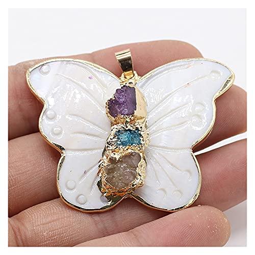 JIANGFBH Cristal Natural Rugoso 1 UNIDS Forma de Mariposa Natural Colgante de Concha Blanca for el Pendiente del Encanto Collar de la joyería Que Hace Las Mujeres Tamaño de Regalo 40x45mm