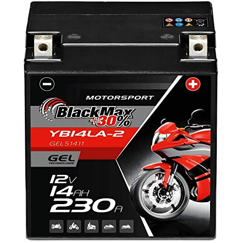 BlackMax YB14L-A2 GEL Motorradbatterie 12V 14Ah Batterie 51411 12N14-3A FB14L-A2