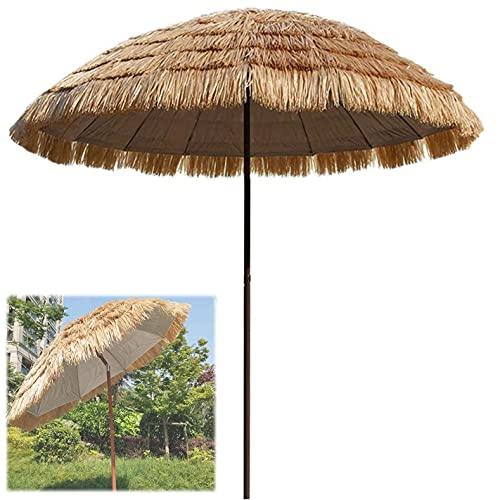 WQF Parasol Sombrillas de Patio con Techo de Paja al Aire Libre, Sombrilla de Playa Hawaiana inclinable, Sombrilla Redonda con decoración de Paja, Dispositivo portátil a Prueba de Viento (Base c