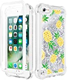 Caka iPod Touch 7th Generation Case, Pineapple iPod Touch 7th Generation Case Glitter, iPod Touch 5 6 7 Case for Girls Full Body Case Built in Screen Protector Liquid Case for iPod Touch 5 6 7