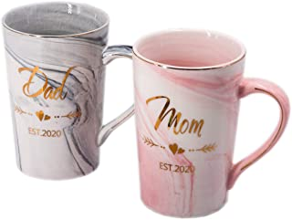 Mugpie Dad and Mom Couple Mugs - New Parents Gifts First Time Pregnancy Gifts EST 2020 Dad and Mom Coffee Mug Set- Elegant...
