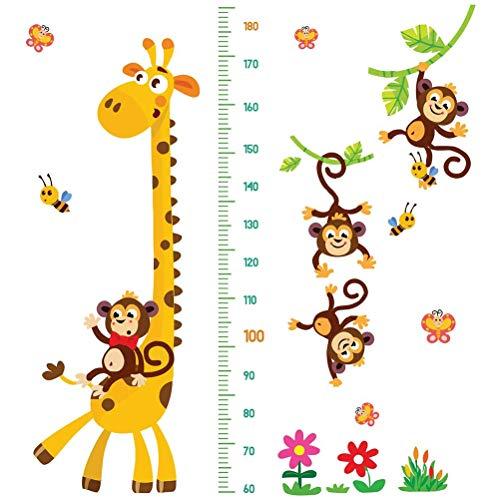 Hahepo Cartoon - Medidor de altura, diseño de jirafa y monos