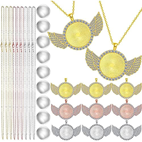 Unknows - Juego de 27 bandejas de cabujón con bisel de diamantes de imitación con colgante redondo
