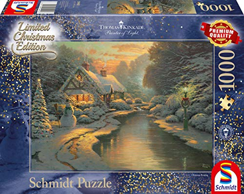 Schmidt Spiele Puzzle 59492 Thomas Kinkade, Am Weihnachtsabend, Limited Edition, 1000 Teile Puzzle, bunt