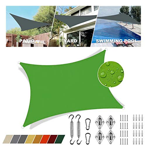 Sonnensegel aufrollbar Grün viereckig 3.5x3.5m UV-Strahlen Schutz Regenfeste Sonnenblende Atmungsaktiv Für Terrasse Mit Festem Zubehör