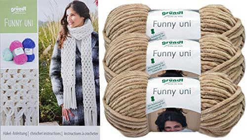 (3x100 Gramm) Gründl Funny Uni Fb.19 beige Softgarn SB Pack + 1 Anleitung Funny Bunny