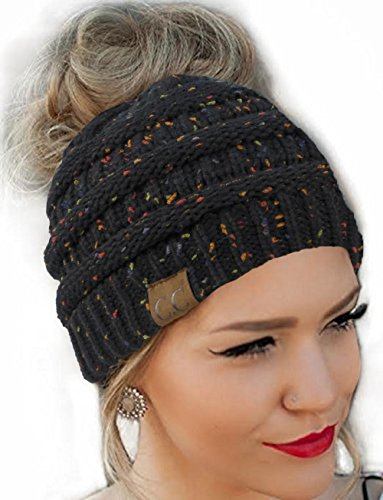 FENGGE Messy Bun Hat Quality Knit Soft Stretch Winter Warm Cable Knit Fuzzy Lined Ear Warmer Headband(Black Flecked)