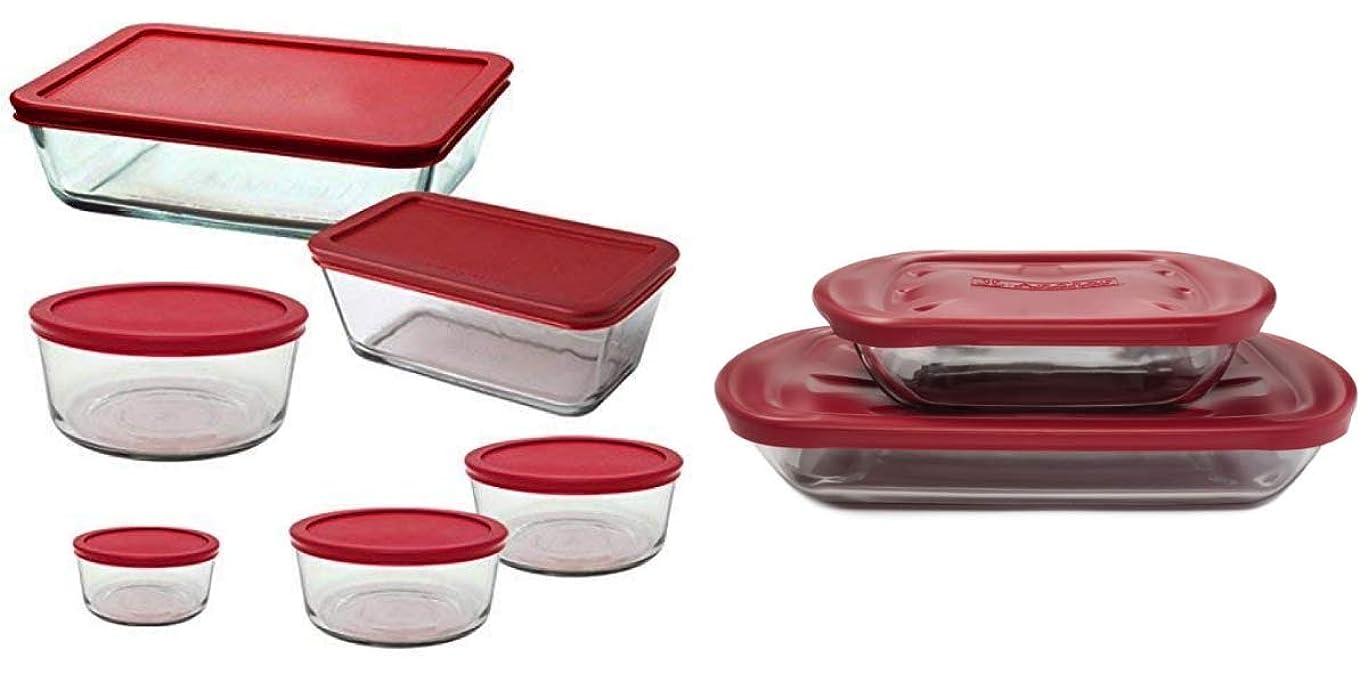 世界に死んだ秘密のリードAnchor Hocking ガラス製食品保存容器 ベーキング皿 蓋付き