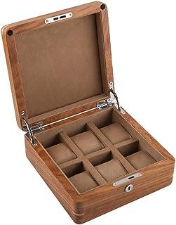 NBVCX Hemtillbehör klockbox 6 spår trä smycken samlingsfodral organiseringshållare med metalllås och brun/beige avtagbara ...