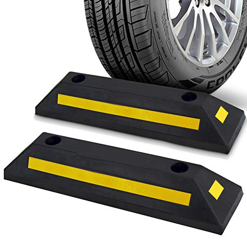 Pyle 2-Pc Curb Garage Vehicle Floor Stopper for Parking Safety 1PC Heavy Duty Rubber Parking Lot Driveway Stopper, for Car Vans Trucks Tire Wheel Guide Block Protect Bumper- PCRSTP11X2