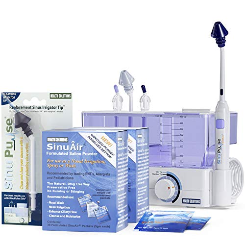 SinuPulse Elite Advanced Nasal Sinus Irrigation System with 60 Additional SinuAir Packets, Additional Replacement Sinus Irrigator Tip, and Bonus eBook by Dr. Robert S. Ivker