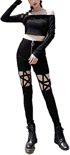 Punk Gothic Women Leggings Hollow Out Five-Pointed Star Pentagram Pencil Sexy Pants Size S