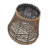 Pantalla de mimbre de bambú hecha a mano, de ajuste fácil, estilo retro, industrial, para iluminación de techo, lámpara colgante para cocina, comedor, luces E27 + placa reductora (cesta)