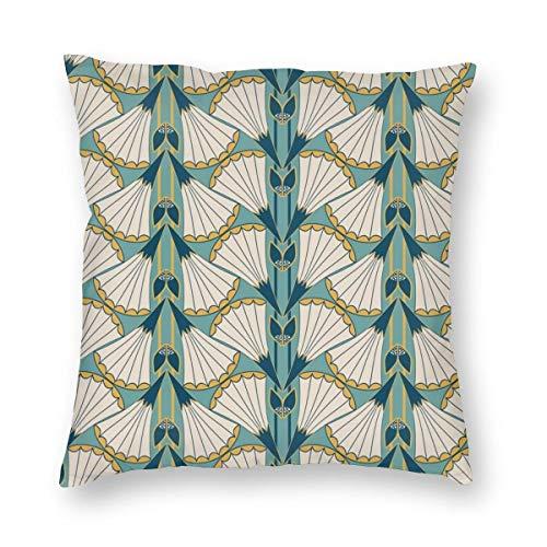 Funda de cojín con diseño de trompeta y flores en color verde azulado y dorado a rayas aterciopeladas suave decorativa de terciopelo, funda de almohada para sala de estar, sofá o dormitorio con cremallera invisible de 20 x 20 pulgadas