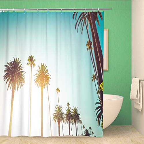 Aowced 60x72 Inches Shower Curtain Rodeo Drive in Beverly Hills Palm Trees Bordering Hollywood Waterproof Polyester Fabric Bath Bathroom Curtain Set with Hooks