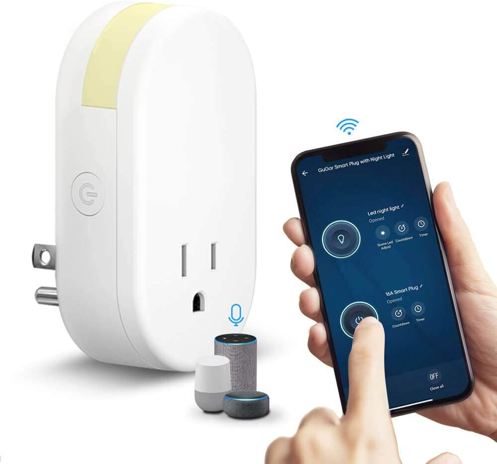 GuGar Wi-Fi Smart Plug with Night Light Smart Home Socket 16A, Smart Life App Remote Control Outlet Compatible with Alexa Echo Google Home/No Hub Required, White, FCC